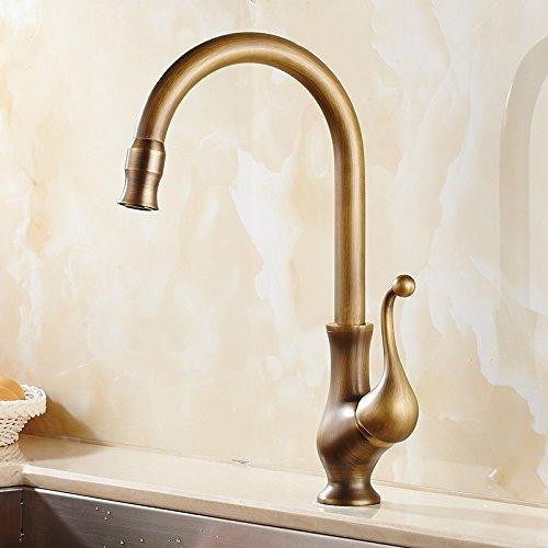 CZOOR Küchenarmaturen Antiquebronze Messing Badezimmer-Hahn-Kran Einhand-Loch-Wannen-Taps Heiß Kalt 360 Grad Deck montiert