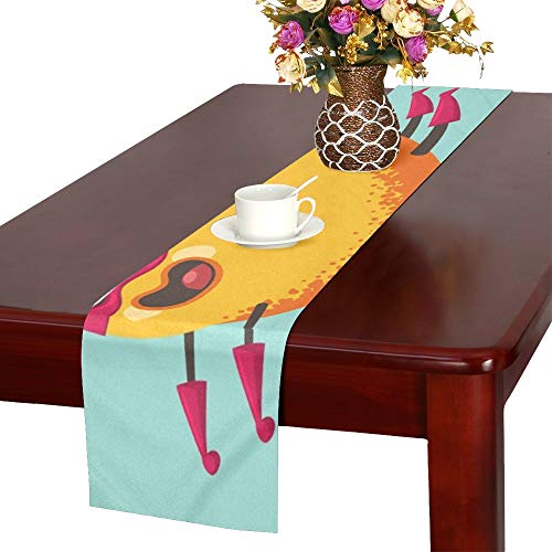 WUTMVING Cute Mango Cartoon Character Exotic Fruit Table Runner, Kitchen Dining Table Runner 16 X 72 Inch for Dinner Parties, Events, Decor