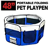 "New 48"" X-Large Dog Pet Cat Playpen Kennel Exercise Pen Crate Fence - Blue"