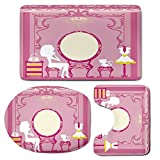 3 Piece Bath Mat Rug Set,Girls,Bathroom Non-Slip Floor Mat,Lady-Sitting-in-front-of-French-Cosmetic-Make-Up-Mirror-Furniture-Dressy-Design,Pedestal Rug + Lid Toilet Cover + Bath Mat,Pink-Yellow