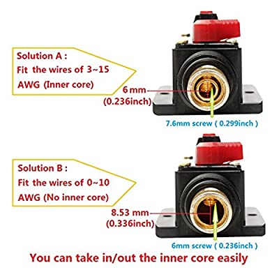 ANJOSHI Fuse Holders 80amp 20A 30A 40A 50A 60A 100A 150A Inline Circuit Breaker for Car Audio and Amps Overload Protection Reset Fuse Inverter 12V-24V DC Replace Fuses: Automotive