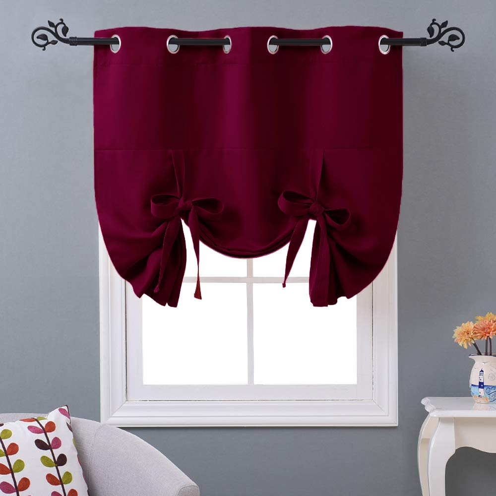 """NICETOWN Burgundy Red Blind for Christmas - Tie Up Shade Blackout Curtain for Kitchen Window on Thanksgiving Day (Grommet Top Panel, 46"""" W x 63"""" L)"""