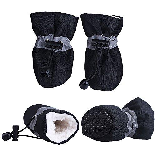 Royal Wise Pet Winter Dog Boots Christmas Faux Fur Lined Anti-Slip Warm Dog Shose for Medium Large Dogs 4 Pcs (L, Black)