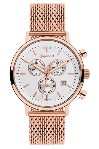 Gigandet Men's/Women's Quartz Watch Classico Analog Stainless Steel Mesh Bracelet Rose Gold White G6-014