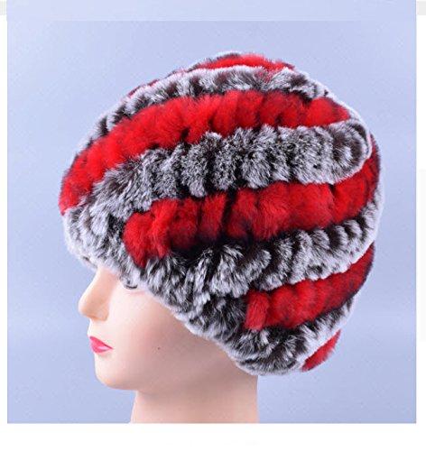New Design Genuine Rex Fur Pom poms Snow Cap Winter Hats for Girls Skull Cap Real Fur Knitting Rabbit Skullies Beanies Women Hats (Coffee Red)