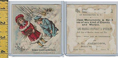 Victorian Card, 1890's, Vermont Granite & Marble,