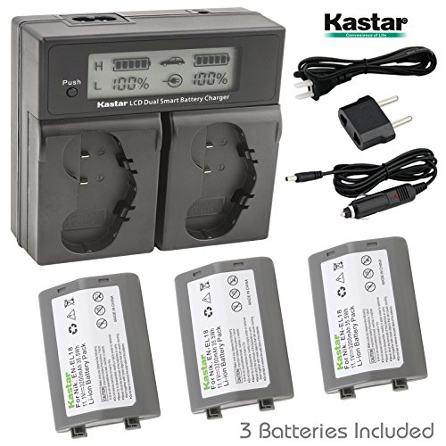 Kastar LCD Dual Smart Fast Charger & Battery (3 PACK) for Nikon EN-EL18, EN-EL18a, ENEL18, ENEL18a, MH-26, MH-26a, MH26 and Nikon D4, D4S, D5 Digital SLR Camera, Nikon MB-D12, D800, D800E Battery Grip by Kastar