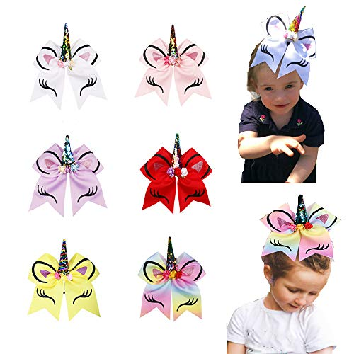Oaoleer 8 inch Unicorn Cheer Bows for Cheerleader Girls Rainbow Hair Ponytail Tie with Elastic Band Pack of 4 (6pcs A_Unicorn Cheer Bows) ()