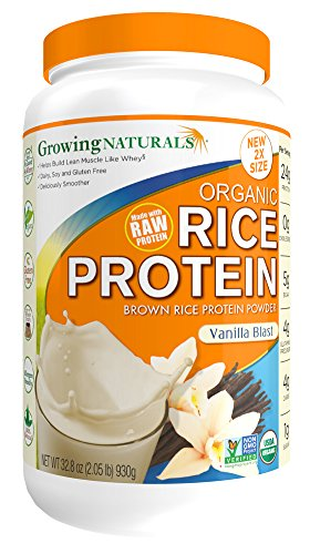 Growing Naturals Organic Rice Protein Powder, Vanilla Blast, 32.8 Ounce