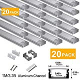 hunhun 20-Pack 3.3ft/1Meter U Shape LED Aluminum Channel System with Milky Cover, End Caps and Mounting Clips, Aluminum Profile for LED Strip Light Installations, Very Easy Installation