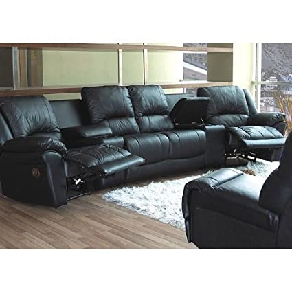 Charmant Black Leather Motion Home Theater Sectional Sofa Couch