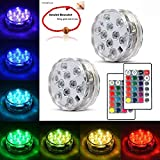 Underwater Submersible LED Lights Waterproof Multi Color Battery Operated Remote Control Wireless 10-LED Lights for Hot Tub,Pond,Pool,Fountain,Waterfall,Aquarium,Party,Vase Base,Christmas,IP68 2pack