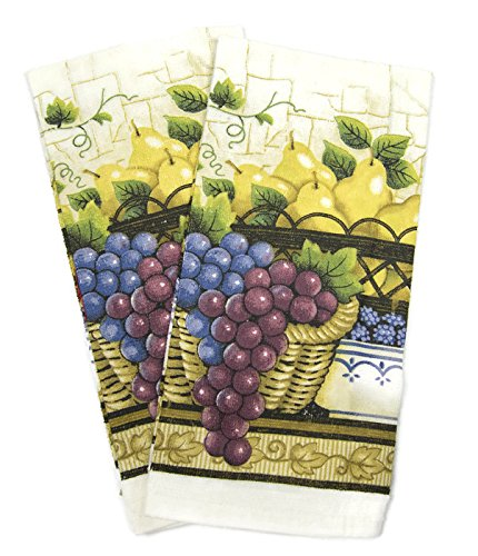 Designer Value Pack 5 Piece Kitchen Linen Set Towels, Pot Holders & Oven Mit (Fruit Basket)