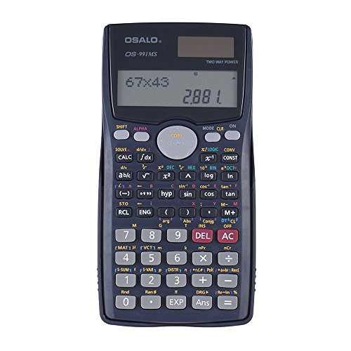 KKmoon Scientific Calculator Counter 401 Functions Matrix Dot Vector Equation Calculate Solar and Battery Dual Powered 2 Line Display Business Office Middle High School Student SAT/AP Test Calculate