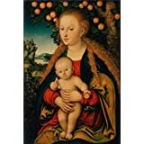 Canvas Prints Of Oil Painting ' Cranach, Lucas, I_1520s-1530s_The Virgin And Child Under An Apple Tree' 24 x 36 inch / 61 x 90 cm , Polyster Canvas, gifts for Gym, Kids Room And Powder Room Decoration