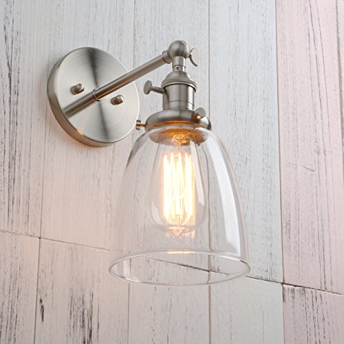 Permo Industrial Vintage Single Sconce With Oval Cone Clear Glass Shade 1-light Wall Sconce Wall Lamp (Brushed) by Permo (Image #4)