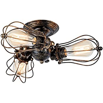 Vintage Ceiling Light Industrial Rotatable SemiFlush Mount Ceiling