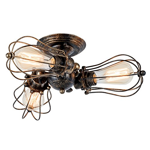 Vintage Ceiling Light (Vintage Ceiling Light Industrial Rotatable Semi-Flush Mount Ceiling Light Metal Lamp Fixtures Painted Finish; Moonkist (With 3 Light) (Bronze))