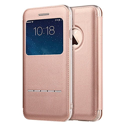 iPhone 6s Plus / 6 Plus Case, Benuo [Touch Series] [View Window] Folio Flip PU Leather Case [Magnetic Closure], Unique Case for iPhone 6 Plus / 6s Plus with Stand & Metal Sensor 5.5 inch (Rose Gold) Touch Folio
