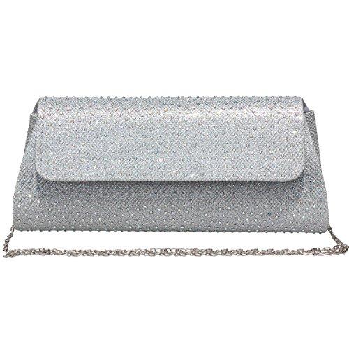 Womens Evening Rhinestone Frosted Clutch Bag Handbag Wedding Party Bridal Purse Silver by GESU
