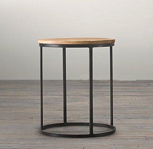 Upper-Einfach retro moderne Möbel neue Runde Couchtisch Massivholz runder Tisch, Schwarz, 55*55*63