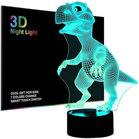 Salandens Luces nocturnas 3D para niños lámpara de noche dinosaurio de juguete para niños 7 ledes colores cambiantes carga USB mesa escritorio