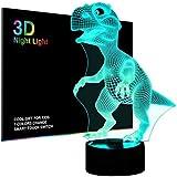 Salandens Luces nocturnas 3D para niños, lámpara de noche, dinosaurio de juguete para niños, 7 ledes, colores cambiantes, car