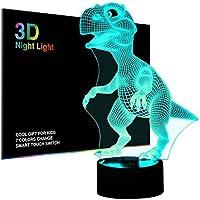 Manba Luces nocturnas 3D para niños, lámpara de noche, dinosaurio de juguete para niños, 7 ledes, colores cambiantes, carga USB, mesa, escritorio, decoración de recámara, ideas de regalo de cumpleaños, Navidad, para bebés amigos
