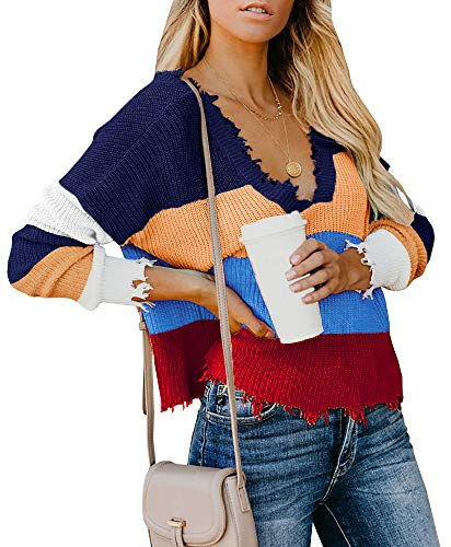Yacooh Womens Fall Cropped Sweater Rainbow Color Block Knit V Neck Pullover Jumper ()