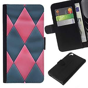 KLONGSHOP // Tirón de la caja Cartera de cuero con ranuras para tarjetas - Modelo de cuero gris del rosa 3D - HTC Desire 820 //