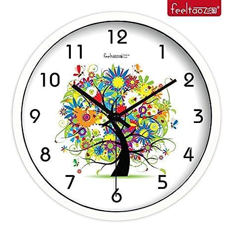 yroar relojes arte creativo de sala de estar moderna reloj el Gorgeous Flores Árbol Silent relojes