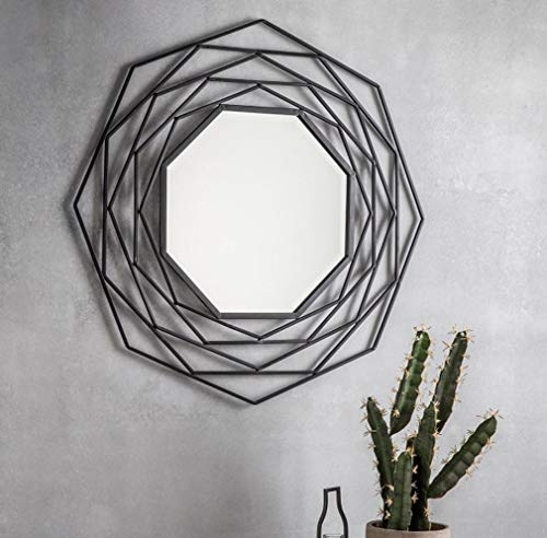 Unique Design Palmilla Metal Wall Mirror, Decorative Mirror for Entryways Living Room, Washrooms, and Office Modern Wall Art Works, Black Frame 29.5x29.5 inch (75x75cm) (Silver)