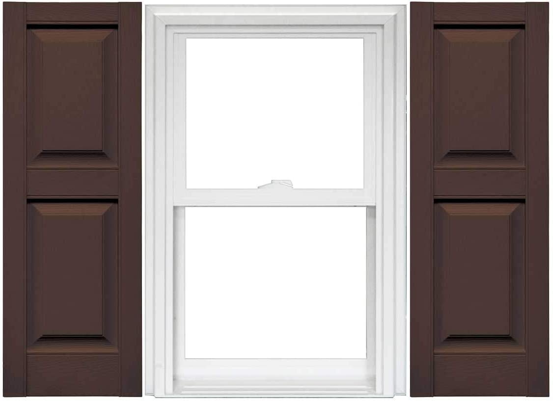 1 Pair 14.75 x 75 009 Federal Brown Mid America Williamsburg Raised Panel Vinyl Standard Shutter