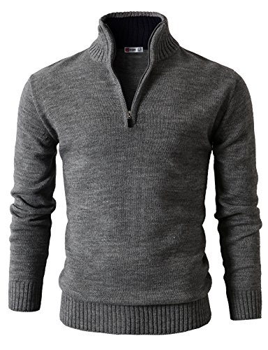 H2H-Mens-Casual-Slim-Fit-Mock-Neck-Zip-up-Basic-Designed-Pullover-Sweater