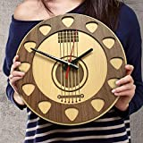 VTH Global 12 Inch Silent Acoustic Guitar Pick Wood Wall Clocks Unique Guitar Gifts for Men Women Dad Guitarists Guitar Player Wall Decor (Acoustic Guitar)