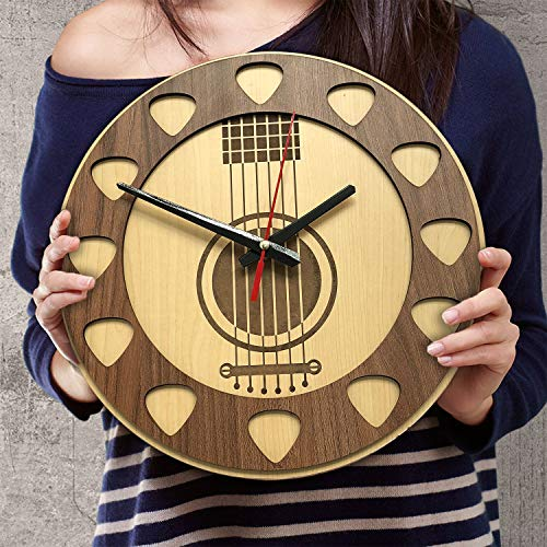 12 Inch Silent Acoustic Guitar Picks Wood Wall Clocks Birthday Presents for Men Women Dad Daddy Grandpa Papa Guitarists Players Son Husband Wife Mom Daughter