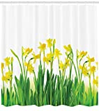 small bathroom decorating ideas photos Ambesonne Daffodil Decor Collection, Narcissus and Daffodil Bunch April Flowers Field Seads Natural Decorating Picture Art, Polyester Fabric Bathroom Shower Curtain, 75 Inches Long, Green Yellow