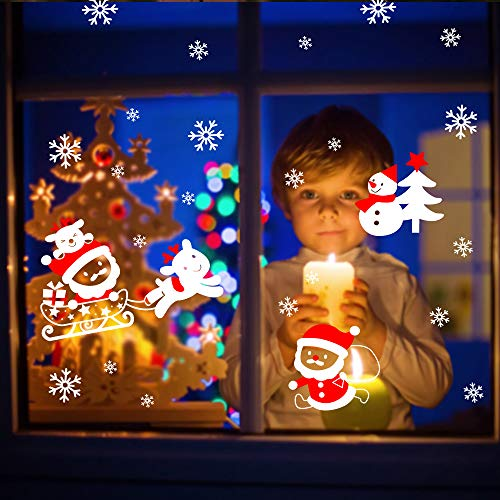 I-Tech More Christmas Snwflakes Window Clings- Ornaments Snow Stickers 108 pcs Winter Decorations for Kids, Home Office Xmas Party