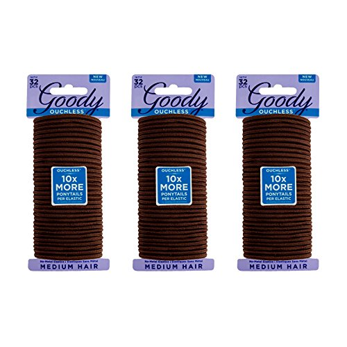 Goody Ouchless Womens Braided Elastics Brown 4mm for Medium Hair, (3 Pack/ 96 Ct Total)