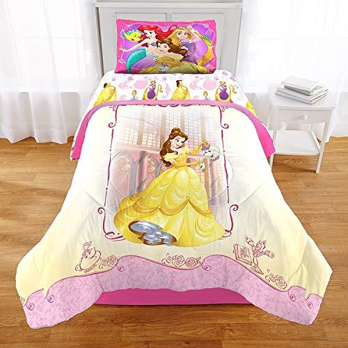 Bed Lizard Little Twin (2 Piece Girls Kids Pink Princess Themed Comforter Twin/Full Set, Cute Disney Mermaid Rapunzel Bedding Belle Beauty and the Beast Fish Lizard Princesses Pattern Yellow Pretty, Reversible Polyester)