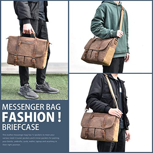 Mens Messenger Bag 15.6 Inch Waterproof Vintage Waxed Canvas Satchel Briefcase Shoulder Bag Retro Distressed Business Computer Laptop Leather Messenger Bag Brown by NUBILY (Image #7)