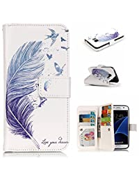 Qissy®Leather Flower Pattern protective Case cover skin for SAMSUNG GALAXY s7