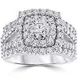 3 ct Diamond Engagement Wedding Cushion Halo Ring Set 10k White Gold - Size 6