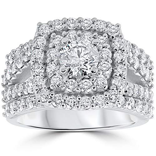 - 3 ct Diamond Engagement Wedding Cushion Halo Ring Set 10k White Gold - Size 7