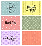(48 pack) Thank You Cards Set with Envelopes - Professional paper with red yellow purple blue pink designs and blank white inside - Bulk pack of notes perfect for baby shower wedding birthday party