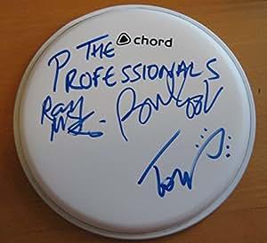 Los profesionales (Reino Unido banda de Punk) Sex Pistols firmado tambor piel 100% auténtica + certificado de autentificación