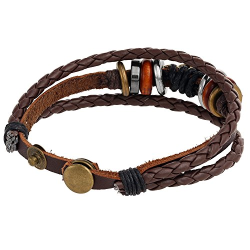 Buy leather and silver 'tribal surf' bracelet