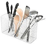 white chicken wire basket - 3 Compartment Rustic Chicken Wire Kitchen Utensil Holder Basket, Pantry Storage Rack, White