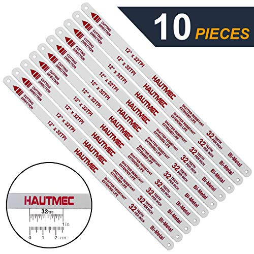 HAUTMEC Hacksaw Replacement Blades BI-METAL (10 Pack) High Speed Steel Grounded Teeth 32 TPI x 12
