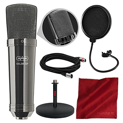 CAD GXL2200BP Cardioid Condenser Microphone (Black Pearl Chrome Finish) with Xpix Desktop Mic Stand and Basic Accessory Bundle